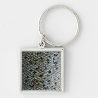 Fish Scales 2 Silver-Colored Square Keychain