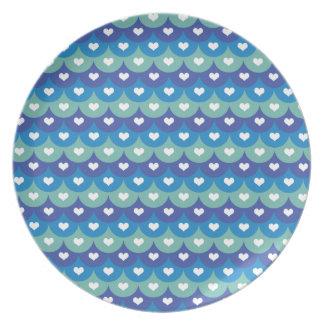 Fish scales and heart- Beach wear-Pool Time-Summer Melamine Plate