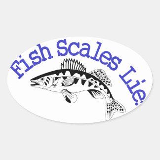 Fish Scales Lie Oval Sticker
