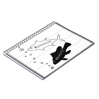 """Fish Scales"" Music Pun Fish Spiral Notebooks"