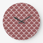 Fish Scales Pattern: Rustic Red Large Clock