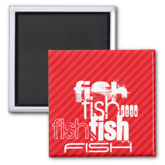 Fish; Scarlet Red Stripes 2 Inch Square Magnet