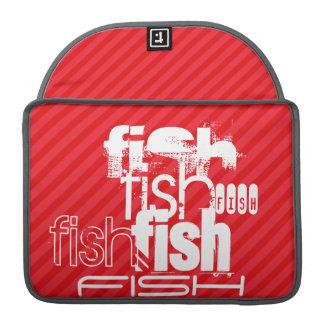 Fish; Scarlet Red Stripes MacBook Pro Sleeve