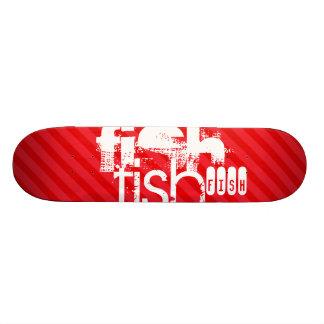 Fish; Scarlet Red Stripes Skateboard Deck