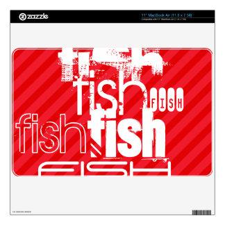 "Fish; Scarlet Red Stripes Skins For 11"" MacBook Air"