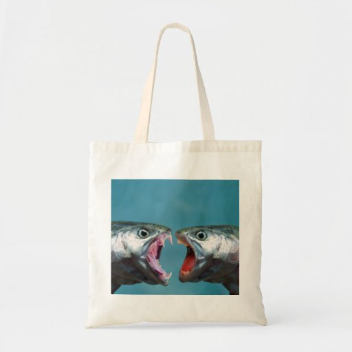 Fish Screaming at Each Other in a Yelling Match Budget Tote Bag