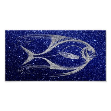 Beach Themed Fish Sea Ocean Life Blue Navy Beach Home Silver Poster