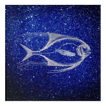 Beach Themed Fish Sea Ocean Life Cobalt Silver Gray Navy Blue Acrylic Print