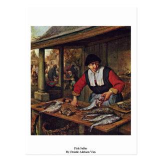 Fish Seller By Ostade Adriaen Van Postcard