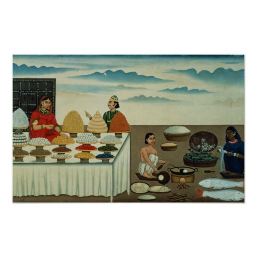 Fish seller, sweetmeat maker and sellers poster