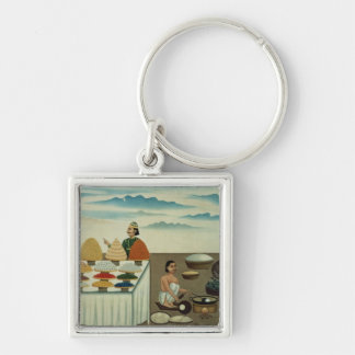 Fish seller, sweetmeat maker and sellers Silver-Colored square keychain