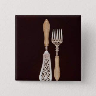 Fish-servers with carved ivory handles pinback button