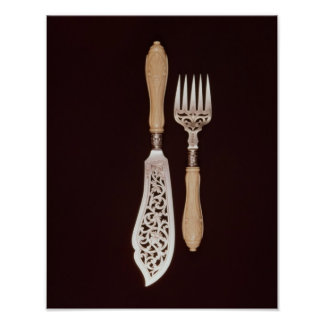 Fish-servers with carved ivory handles poster