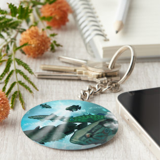 Fish shoal with bubbles and light effects keychain