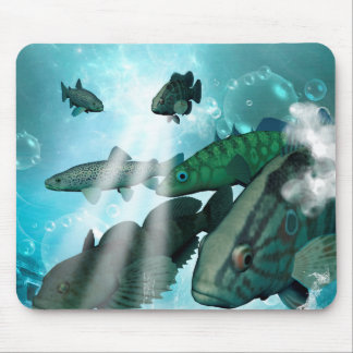 Fish shoal with bubbles and light effects mouse pad