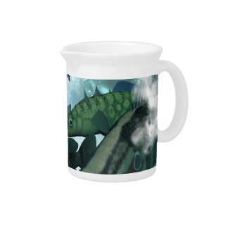 Fish shoal with bubbles and light effects pitcher