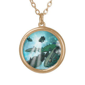 Fish shoal with bubbles and light effects round pendant necklace