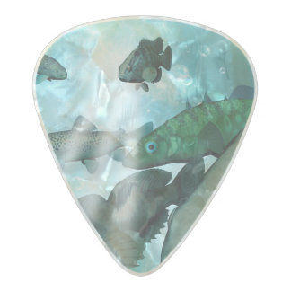 Fish shoal with bubbles pearl celluloid guitar pick