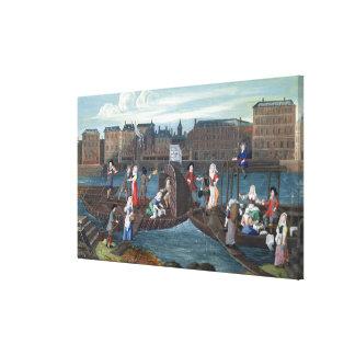 Fish Shop and Laundry Boat at the Quai Canvas Print