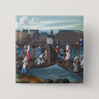 Fish Shop and Laundry Boat at the Quai Pinback Button