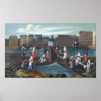 Fish Shop and Laundry Boat at the Quai Poster