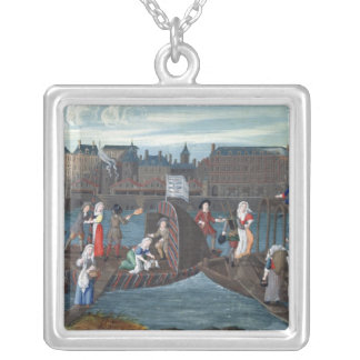 Fish Shop and Laundry Boat at the Quai Silver Plated Necklace
