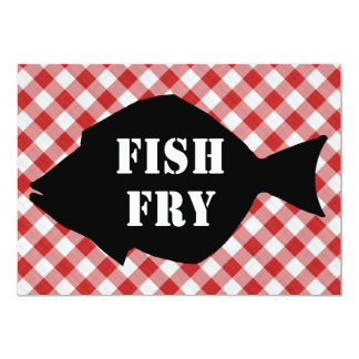Fish Silo on Red & White Checked Cloth Fish Fry 5x7 Paper Invitation Card