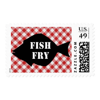 Fish Silo on Red & White Checked Cloth Fish Fry Stamp