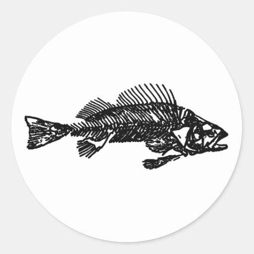 Fish skeleton logo black stickers for Fish skeleton decal