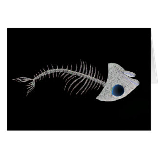 Fish Skeleton on Black Card