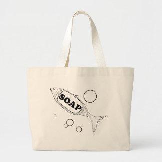 Fish soap large tote bag
