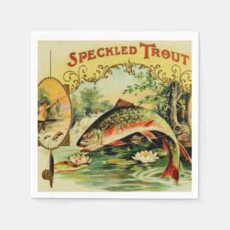 Fish Speckled Trout Fly Fishing Camping Lake River Napkin