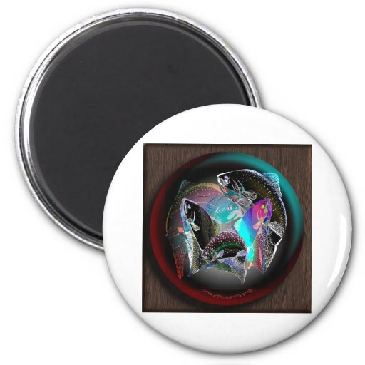 FISH_SPHERE_WOOD FRIDGE MAGNET