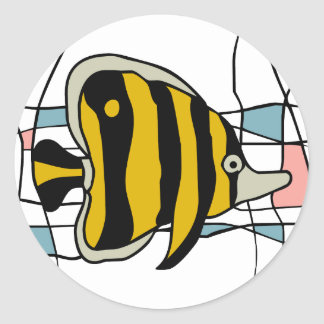 Fish stained glass classic round sticker