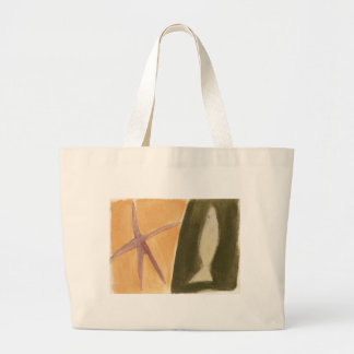 fish - starfish graphic design large tote bag