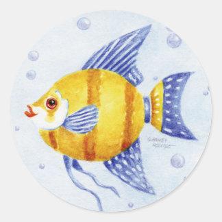 Fish Stickers Round Angel Fish