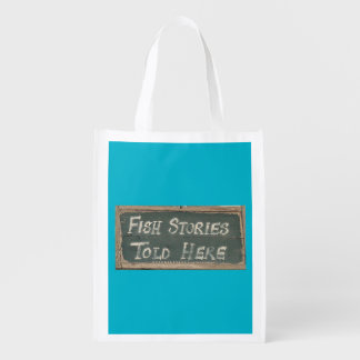 Fish Stories Told Here Reusable Grocery Bag