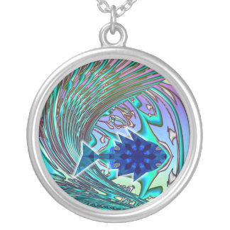 Fish Surfing Christian Necklace