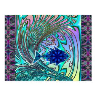 Fish Surfing Wave Postcard
