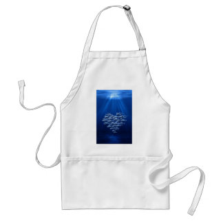 fish swarm under water heart adult apron
