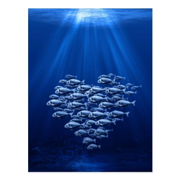 Valentines Themed fish swarm under water heart postcard
