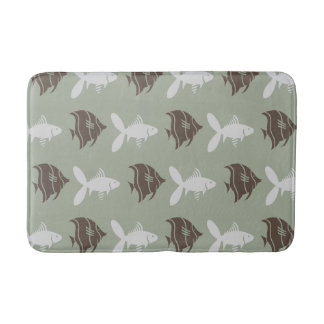 Fish Swimming Graphical Brown Grey on any Color Bathroom Mat
