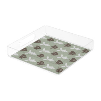 Fish Swimming Graphical Brown Grey on any Color Serving Tray