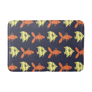 Fish Swimming Graphical Orange Yellow on any Color Bath Mat