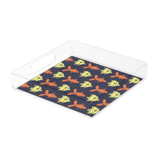 Fish Swimming Graphical Orange Yellow on any Color Serving Tray