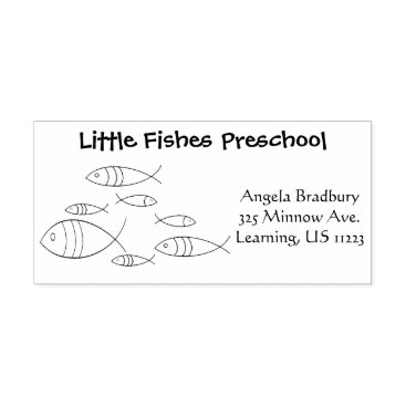 Professional Business Fish Swimming Illustration Drawing, Name, Address Rubber Stamp