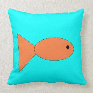 Fish swimming in Ocean, Kids Art, Sealife Throw Pillow