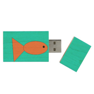 Fish swimming in the ocean, USB, Art by Kids :) Wood USB 2.0 Flash Drive
