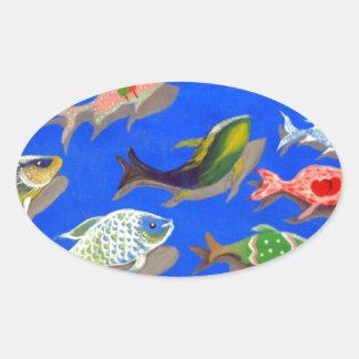 Fish swimming oval sticker