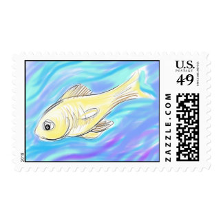 Fish Swimming Postage Stamps